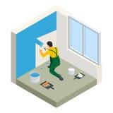Isometrische Paintroller die witte muur met rol blauwe verf schilderen Vlakke 3d moderne vectorillustratie Paintroller Royalty-vrije Stock Fotografie
