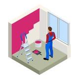 Isometrische Paintroller die witte muur met rol rode verf schilderen Vlakke 3d moderne vectorillustratie Paintroller, mensen Royalty-vrije Stock Foto's