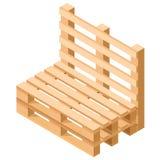 Isometrische Palettenmöbel Stuhl errichtet von den Paletten Vektor Lizenzfreie Stockfotografie