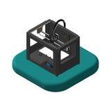 Isometrische pictogrammen 3D Printer Pictogrammen 3D Printer Stock Fotografie