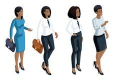Isometrische pictogrammenemotie een vrouwen Afrikaanse Amerikaanse, 3d bedrijfsvrouw, algemene manager, advocaat Uitdrukking van  vector illustratie
