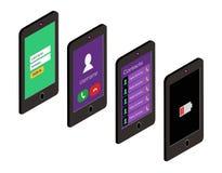 Isometrische pictogramreeks van mobiele telefoon in vlakke stijl Gebruikersinterfaceconcept Royalty-vrije Stock Afbeelding