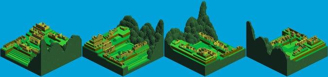 Isometrische Pixel-Kunst Machu Picchu Stockbild