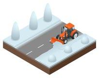 Isometrische Planierraupe säubert vom alten Schnee der Straße Vektorillustration der Schneekanone stock abbildung