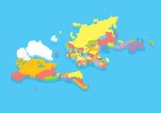 Isometrische politieke kaart van de wereld Stock Foto's