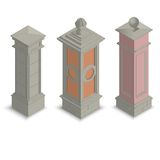 Isometrische poortpijlers Stock Fotografie