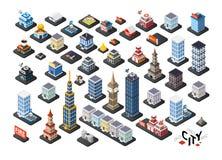 Isometrische projectie van 3D gebouwen Royalty-vrije Stock Afbeeldingen
