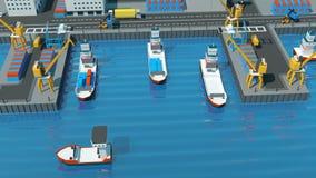 Isometrische Projektion des Lagerhafens Schiffe mit Behältern auf dem Liegeplatz am Hafen, Kräne, Arbeitskräfte Autos, Hangars lizenzfreie abbildung