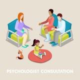 Isometrische Psycholoog Consultation Familie op Psychotherapie stock illustratie