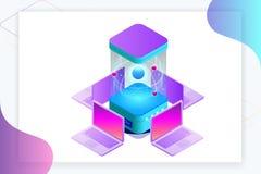 Isometrische Quantum gegevensverwerking of Supercomputing Een quantumcomputer is een apparaat dat quantum gegevensverwerking uitv royalty-vrije illustratie