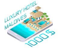 Isometrische reclame van de toevlucht op smartphone van de Maldiven, het heldere concept van de reclamereis, luxueuze hotels royalty-vrije illustratie