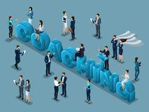 Isometrische reeks 3d zakenlieden, concept de opleiding van personeel, coacher, groot het trainen woord, bedrijfsmensen vectorill vector illustratie