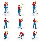 Isometrische reeks met de arbeiders die van de Huisreparatie onderhoud, de industriële mensen van contractantenarbeiders doen Geï royalty-vrije illustratie