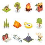 Isometrische Reise-Rest-Symbol-touristische Zubehör-Ikonen eingestellte flache Design-Schablonen-Vektor-Illustration stock abbildung