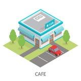 Isometrische restaurantkoffie De vlakke bouw parkeren Royalty-vrije Stock Afbeeldingen