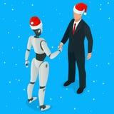 Isometrische robot met Ai of kunstmatige intelligentiehanddruk met menselijk concept Symbool van toekomstige samenwerking en royalty-vrije illustratie