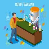 Isometrische Robotachtige Restaurantachtergrond stock illustratie