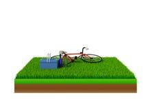 Isometrische rode fiets op groen gras Stock Afbeeldingen
