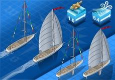 Isometrische Sailships in Navigatie Royalty-vrije Stock Foto's