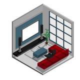 Isometrische scène van woonkamer Stock Afbeelding