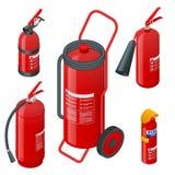 Isometrische Schaumfeuerlöscher, Feuerlöscher lokalisiert auf weißem Hintergrund Brandschutz und Schutz stock abbildung
