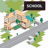 Isometrische Schule der Karte lizenzfreie stockbilder
