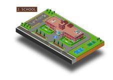 Isometrische Schule mit Straße lizenzfreie abbildung