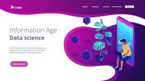 Isometrische Seite der Landung 3D Digital-Ära lizenzfreie abbildung