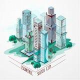 Isometrische Skizzen-Stadt gefärbt Lizenzfreies Stockbild