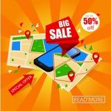 Isometrische smartphone met kaart en markeringen Online Groot VerkoopConceptontwerp Kaartnavigatie Het mobiele marketing en perso Stock Foto's