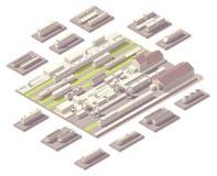 Isometrische spoorwegwerf Royalty-vrije Stock Afbeeldingen