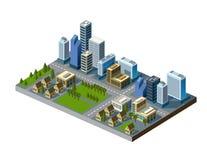 Isometrische stad Royalty-vrije Stock Afbeelding
