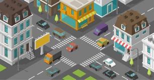 Isometrische stad De straat van het stadsdistrict De reclame van aanplakbord op de wegkruising Vector hoge rechthoekige detailsta royalty-vrije illustratie