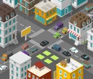 Isometrische stad De straat van het stadsdistrict De reclame van aanplakbord op het zebrapad van de wegkruising De vector hoge pr stock illustratie