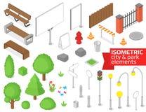 Isometrische stad en park geplaatste elementen vector illustratie