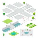 Isometrische stadselementen Stock Foto