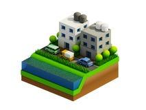 Isometrische stadsgebouwen, landschap, Weg en rivier Royalty-vrije Stock Foto