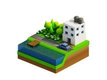 Isometrische stadsgebouwen, landschap, Weg en rivier Royalty-vrije Stock Afbeelding