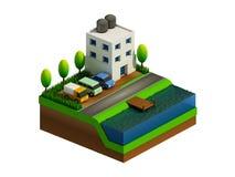 Isometrische stadsgebouwen, landschap, Weg en rivier Royalty-vrije Stock Afbeeldingen