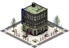 Isometrische stadsgebouwen, luxehotel het 3d teruggeven stock illustratie