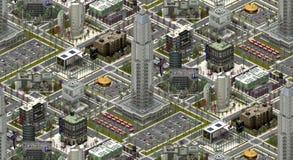 Isometrische stadsgebouwen, moderne urbanscape het 3d teruggeven Stock Foto's