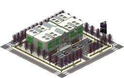 Isometrische stadsgebouwen, parkeerterrein met winkelcomplex het 3d teruggeven stock illustratie