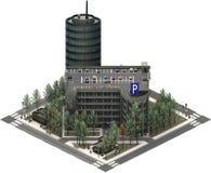 Isometrische stadsgebouwen, parkeerterrein met wolkenkrabber het 3d teruggeven royalty-vrije illustratie