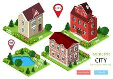 Isometrische stadshuizen met groen werven, bomen, banken en park met meer Reeks leuke gedetailleerde gebouwen Vector illustratie royalty-vrije illustratie