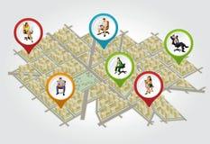 Isometrische stadskaart met mensen Stock Foto