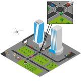 Isometrische stadsvector Royalty-vrije Stock Foto's