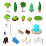 Isometrische Stadt-Anlagen Unterschiedliches städtisches Material mit Bäumen, Bank, Brunnen lizenzfreie abbildung