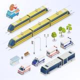 Isometrische Stadt Städtische Elemente Isometrischer Bus Isometrischer Zug lizenzfreie abbildung