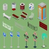 Isometrische Stadt-städtische Elemente mit Bänke lizenzfreie abbildung
