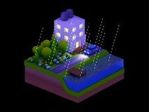 Isometrische Stadtgebäude, Landschaft, Straße und Fluss, Nacht scen Lizenzfreie Stockfotografie